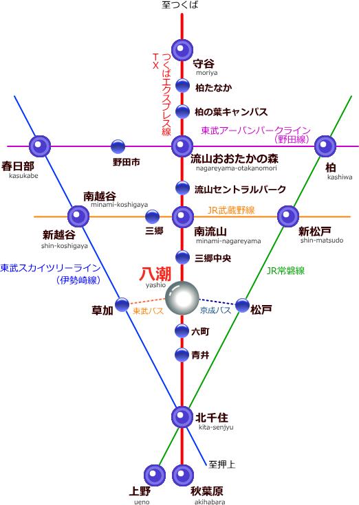 三郷八潮付近の路線図
